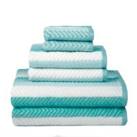 Bryce Stripe Face with Solid Back 6-Piece Bath Towel Set
