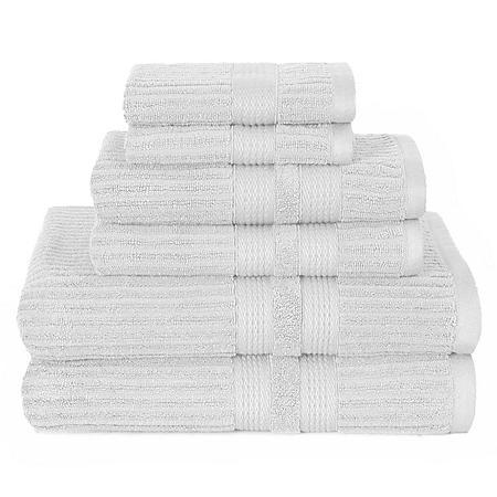 Vertical Bars Textured 6 Piece Bath Towel Set