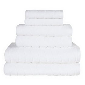 Textured 6 Piece Bath Towel Set (Various Styles)