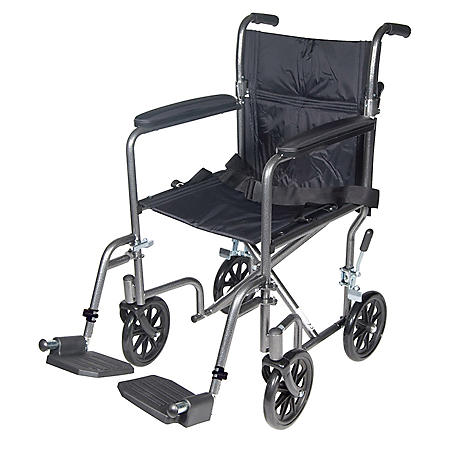 """Lightweight Steel Transport Wheelchair, Fixed Full Arms, 17"""" Seat"""
