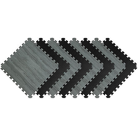 "Norsk 25"" x 25"" Reversible Foam Flooring, Gray Wood & Black, 8 Tiles"