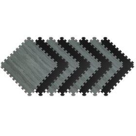 """Norsk 25"""" x 25"""" Reversible Foam Flooring, Gray Wood & Black, 8 Tiles"""