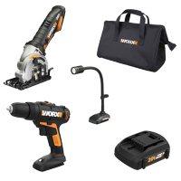 Worx Drill/Driver, Plunge Circular Saw, Flexible LED Light Combo Kit