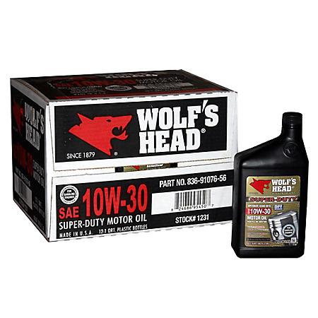 Wolf's Head 10W30 Motor Oil - 1 Quart Bottles - 12 pack