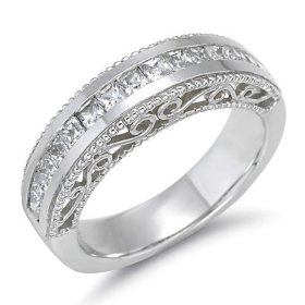 1 ct. t.w. Princess-Cut Diamond Filigree Wedding Band (H-I, SI2)