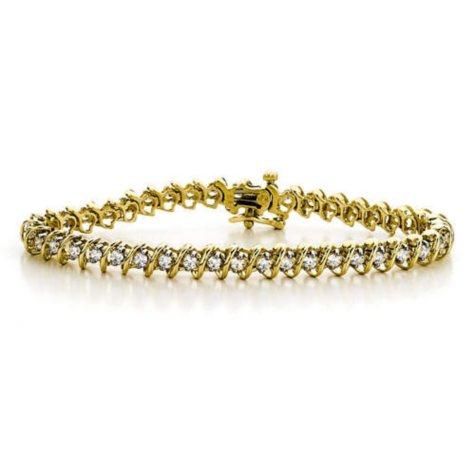 """5 ct. t.w. """"S"""" Diamond YG Bracelet (H-I, I1)"""
