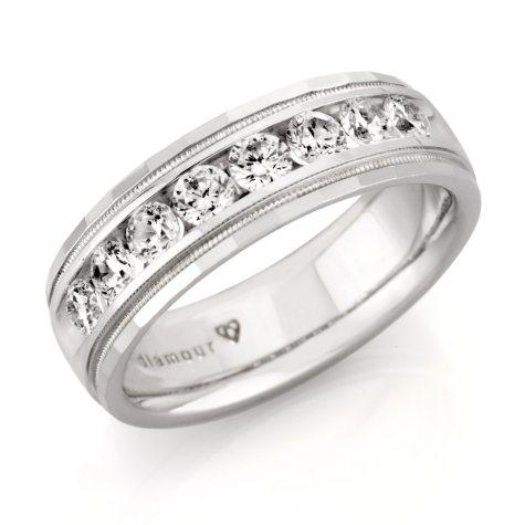 1.50 CT. T.W. Men's Round Diamond Wedding Band in 14k White Gold (H-I, SI2)