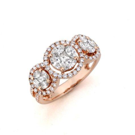 1.33 CT. T.W. Multi-Stone Diamond Ring in 14k Rose Gold (H-I, I1)