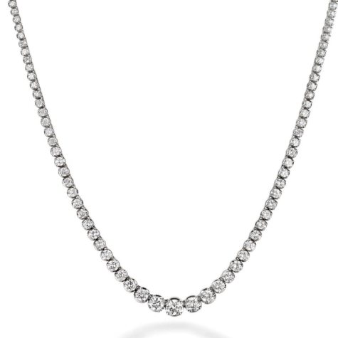 7.46 ct. t.w. Diamond Riviera Necklace in 14K White Gold (H-I, I1)