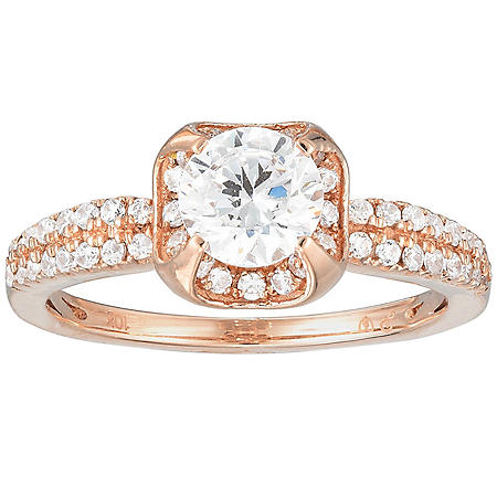 0.70 CT. T.W. Diamond Halo Double Shank Engagement Ring in 14K Rose Gold (H-I, I)