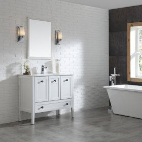 OVE Decors Andora 40-in. Bathroom Vanity in Matte White with Ceramic Countertop and Sink