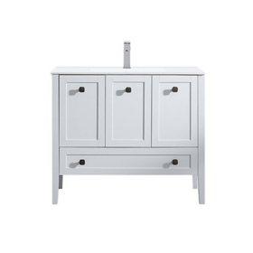 "OVE Decors Andora 40"" Bathroom Vanity Ceramic Countertop and Sink, Matte White"