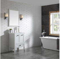 OVE Decors Andora 24 in. Bathroom Vanity in Matte White with Ceramic Countertop and Sick