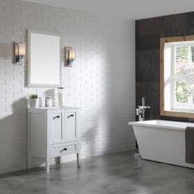 OVE Decors Andora 24-in. Bathroom Vanity in Matte White with Ceramic Countertop and Sink