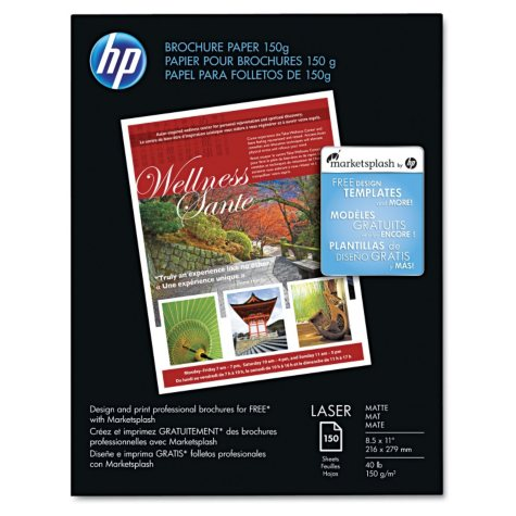 HP Color Laser Brochure Paper, 40lb, 98 Bright, 8 1/2 x 11, White, 150 Sheets