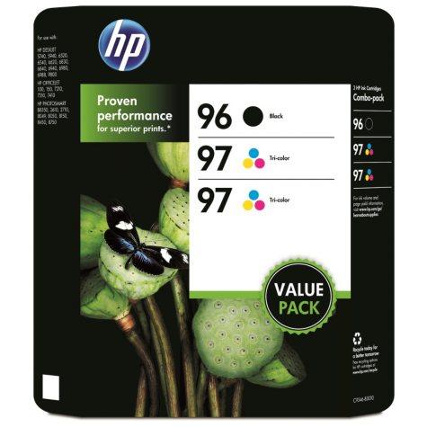 HP 96/97/97 Original Ink Cartridge, Black/Tri-Color (3 pk., 860 Page Yield)