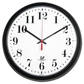 "Chicago Lighthouse Black Quartz Contract Clock, 13-3/4"", Black"