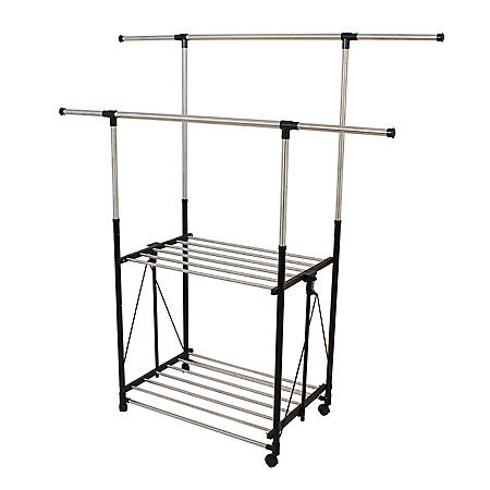 Greenway Stainless-Steel Collapsible Double-Bar Garment Rack