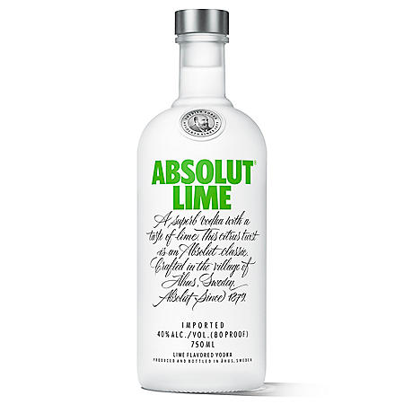 Absolut Lime Flavored Vodka (750 ml)