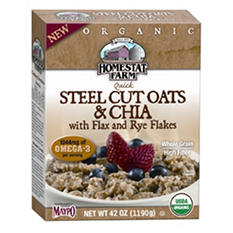 Homestat Farm Organic Steel Cut Oats & Chia with Flax and Rye Flakes Cereal (42 oz.)