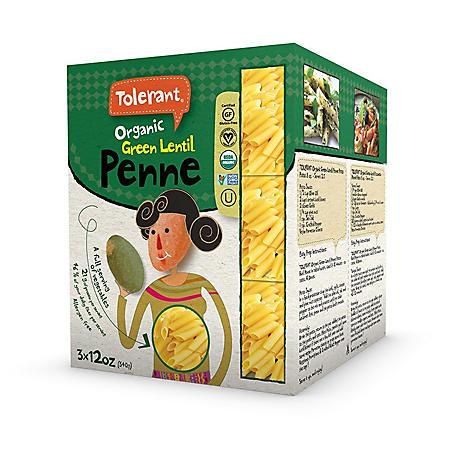 Tolerant Organic Green Lentil Penne (12 oz., 3 ct.)