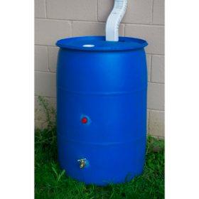 55-Gallon Big Blue Recycled Rain Barrel