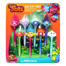 Dreamworks Trolls Bug Eye Pens, Medium Nib Ball Point, Black Ink, 8 pack