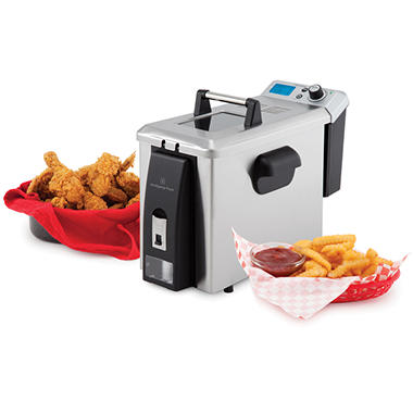 Wolfgang Puck 4L Programmable Deep Fryer with Oil Drain Tap