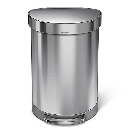 simplehuman 16 Gal Stainless Steel Step Can & Bonus Round Step Can
