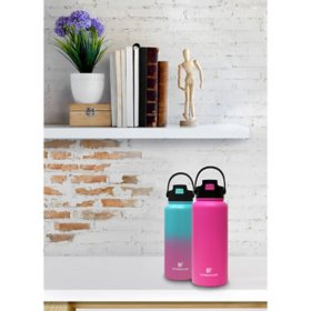 Hydraflow 34 oz. Double Wall Stainless-Steel Bottle, Set of 2 (Assorted Colors)