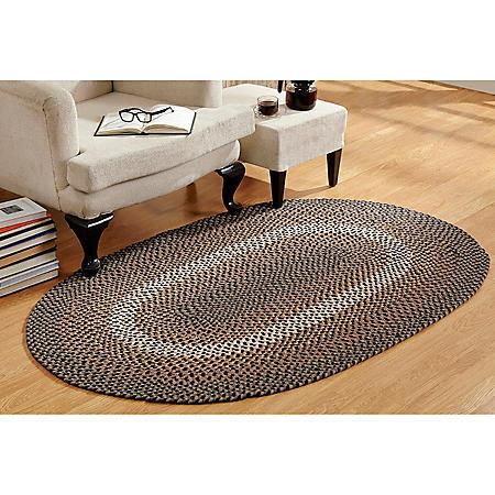 Woodbridge Wool 6' Round Black Braided Rug