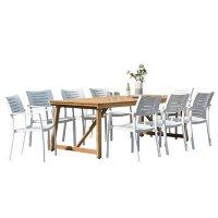 Amazonia Layton 9-Piece Outdoor Dining Set (Certified Teak)