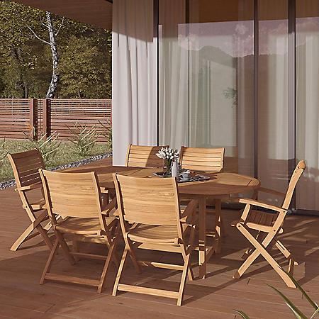 Amazonia Boise 7-Piece Outdoor Dining Set (Certified Teak)