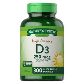 Nature's Truth Vitamin D3 250 mcg (10,000 IU) (300 ct.)