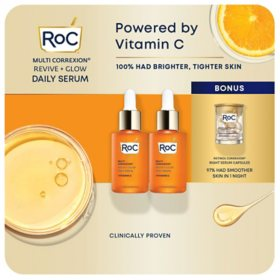 RoC Revive and Glow Daily Serum (1 fl. oz., 2 pk.) + Retinol Capsules (10 ct.)