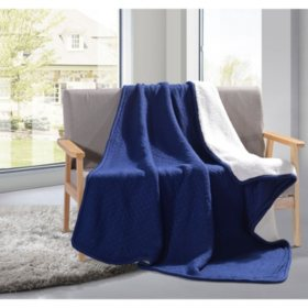 Knit Sherpa Throw (Assorted Colors)