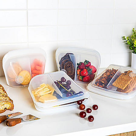 4-Piece Silicone Bento Sectional Storage Bags with Double Lock Seal - Platinum Grade, Food-Safe (Assorted Colors)