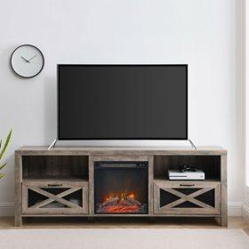 "Abilene 70"" Rustic Farmhouse Fireplace TV Stand - Grey Wash"