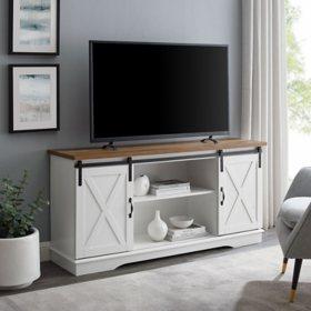 """58"""" Modern Farmhouse TV Stand - White/Reclaimed Barnwood"""