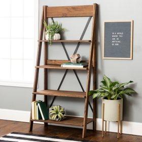 "Frankie 68"" Solid Wood Ladder Bookshelf - Brown"