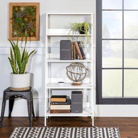 """55"""" Modern Wood Ladder Bookshelf - White"""