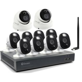 Swann 1080P Smart Surveillance System, 1TB DVR, 16-Channel 8-Warning Spotlight & 2 Dome Cameras