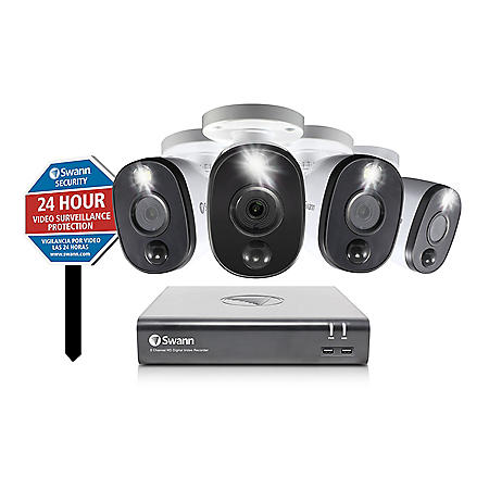 Swann 4 Camera 8 Channel 1080P DVR security System with Heat & Motion Activated Warning Light