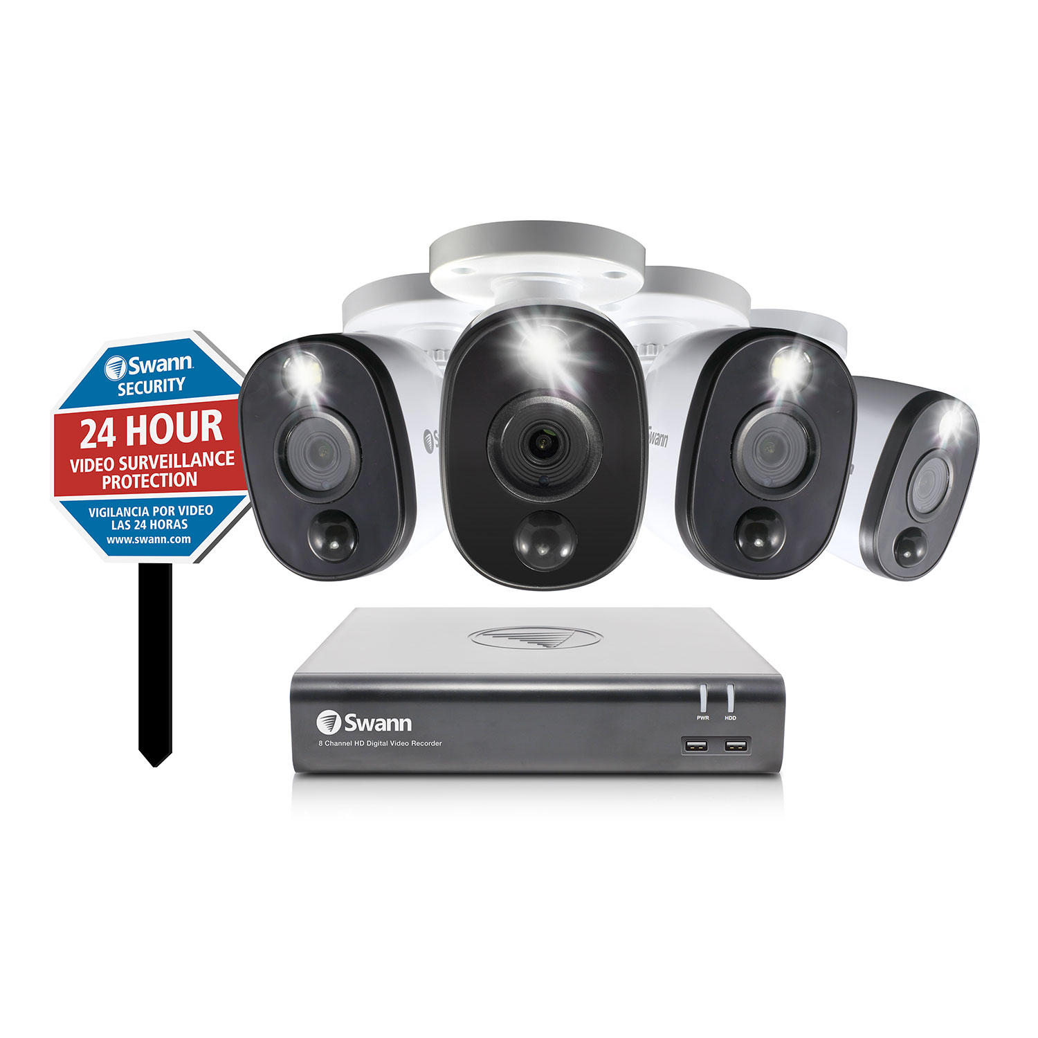 Swann 8 Camera 4 Channel 1080P DVR security System with Heat & Motion Activated Warning Light