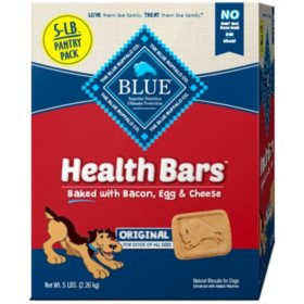BLUE Buffalo Health Bars Crunchy Dog Treat Biscuits, Bacon, Egg & Cheese (5 lbs.)