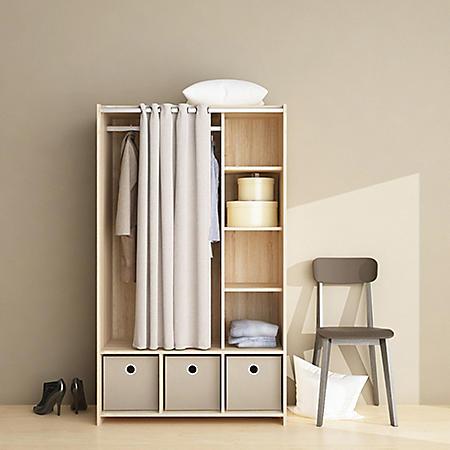 Tvilum Large Wardrobe Cabinet with 3 Large Fabric Bins & Curtain Covered Storage