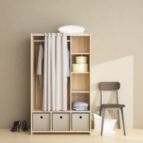 Tvilum Large Wardrobe Cabinet with 3 Large Fabric Bins & Curtain Covered Storage