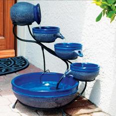 Blueberry Solar Cascade, Ceramic Glazed Rustic Blue Finish