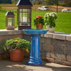 "Aviatra 24"" Ceramic Birdbath - Blue Transitions"