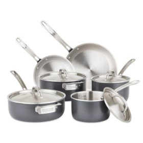 Viking 5-Ply 10-Piece Hard-Anodized Stainless-Steel Cookware Set